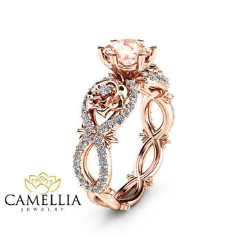 Special Reserved - Matching Band for Peach Pink Morganite Engagement Ring in 14K Rose Gold 1st payment
