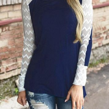 Blue Patchwork Draped Round Neck Long Sleeve Casual T-Shirt