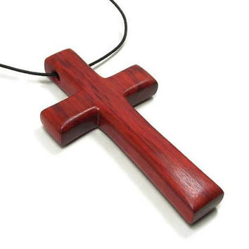 Large Cross Necklace, Mens Wooden Cross Necklace, Jewelry for Men, Men's Pendant, Cross Pendant, Husband Gift, Mens Jewelry Cross, Red Heart