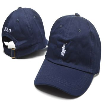 Navy Blue Polo Embroidered Unisex Adjustable Cotton Sports Cap Hat