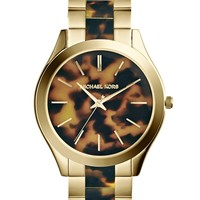 Michael Kors Women's Runway Tortoise and Gold-Tone Stainless Steel Bracelet Watch 42mm MK4284