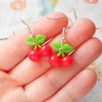 Cherry Earrings, Kawaii Earrings, Kawaii Cherry Earrings, Cute Earrings, Sweet Lolita, Kawaii Kei, Summer Earrings, Girls Gift