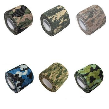 1PC 100% Cotton 5*220CM Outdoor Camo Stretch Bandage Camping Hunting Camouflage Tape for Gun MTB Bike Camo Sticker