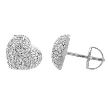 Cluster Set Heart Earrings Womens White
