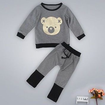 Autumn Winter Baby Boy Cute Clothing 2016 Unisex 2pc Pullover Sweatshirt Top + Pant Clothes Set Baby Toddler Boy Outfit Suit