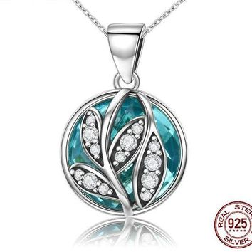 Authentic 925 Sterling Silver Green Radiant Leaves Pendant Necklace