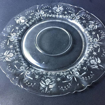 Heisey Orchid Cheese and Cracker Platter | Heisey Glass Serving Plate Etched Floral Orchid Pattern