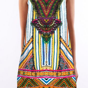 Retro Print Round Neck Dress