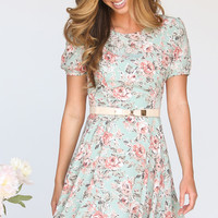 Josephine Light Blue Floral Dress