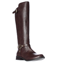 G Guess Hellia Buckle Tall Riding Boots - Dark Brown