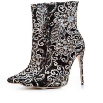 2017 Women's Mid Calf Luxury High Heeled Fashion boots