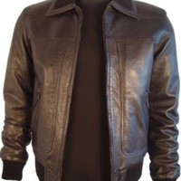 Paccilo 1001 Real Fur Lined BIG & TALL SIZE PREMIUM Grade Real Lambskin Leather Bomber Jacket