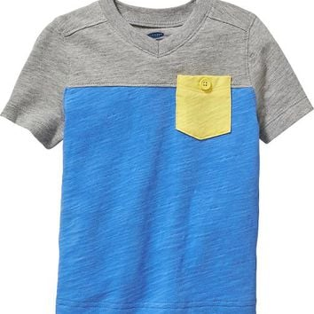 Old Navy Color Block V Neck Pocket Tees For Baby