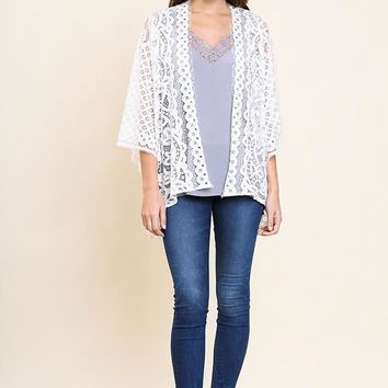 Sheer Off White Lace Bell Sleeve Kimono