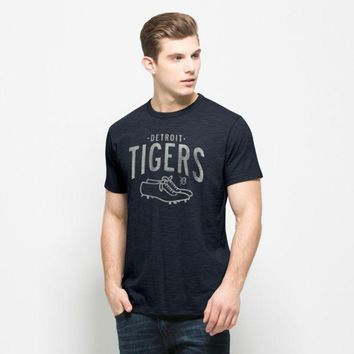 ONETOW MLB 47 Brand Detroit Tigers Men's Fall Navy Baseball Cleats Scrum Tee