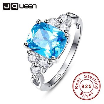 2017 luxurious Blue Ring Genuine 925 Sterling Silver Cocktail Party Rings Topaz Stone Women Female Size 6-9 Free Gift Package