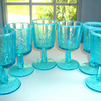 Westmoreland Aqua Blue Goblet Paneled Grape Set of Six