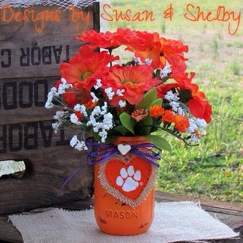Clemson, mason jar, painted mason jar, rustic, decorated mason jar, floral, centerpiece, college decor, graduation party, gifts, orange