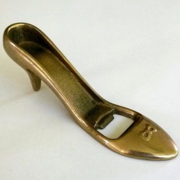 Vtg Brass Ladies Shoe Bottle Opener Hi Heel Bow