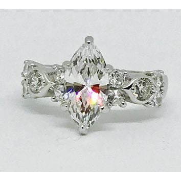 A Perfect 1.82CT Marquise Cut Russian Lab Diamond Engagement Ring