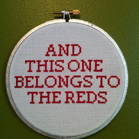Cincinnati Reds Cross Stitch Wall Hanging