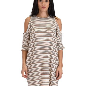 SL3908 Taupe 3/4 Sleeve Cold Shoulder Ribbed Shift Dress With Stripes