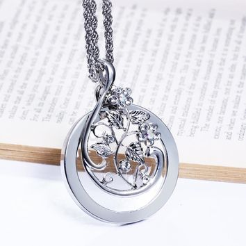 Hot Seller Flower Pattern Design Magnifying glass for Reading Fashion jewelry Parent gifts Crystal Brand New Pendant necklace