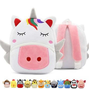 Cute Unicorn Baby Backpack Plush School Bag Rucksack Children's Gifts Kindergarten Cartoon Animal Boy Girl Student Bag Mochila
