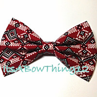 Holiday Aztec Nordic Printed Patterned Bow