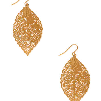FOREVER 21 Perforated Leaf Drop Earrings Gold One