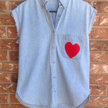 Sleeveless Denim shirt with  heart patche, hipster, indie, size large, grunge, soft grunge