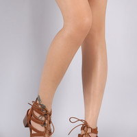 Strappy Open Toe Lace-Up Block Heel