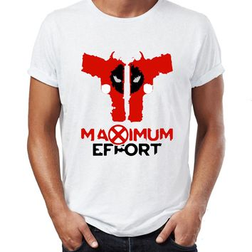Men's T Shirt Deadpool Maximum Effort Funny Parody Skull Tee
