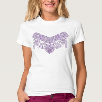 Elegant Lilac lace with heart valentines T-shirt