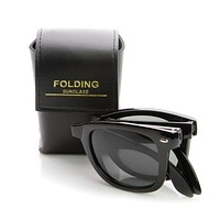 Limited Edition Folding Pocket Horned Rim Sunglasses + Case 8788