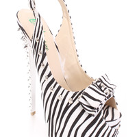 Zebra Studded Peep Toe Sling Back High Heels Faux Suede