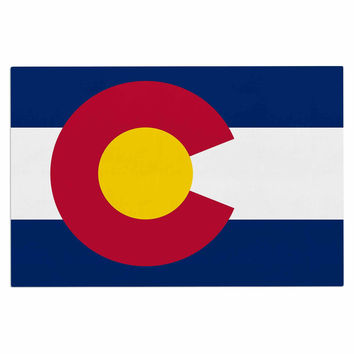 "Bruce Stanfield ""Flag of Colorado II"" Blue Red Decorative Door Mat"
