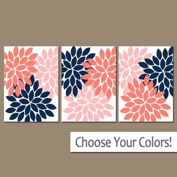 NAVY CORAL Wall Art, Flower Wall Art, Navy Coral Nursery Decor, Floral Bedroom Pictures, CANVAS or Print, Floral Bathroom Decor, Set of 3