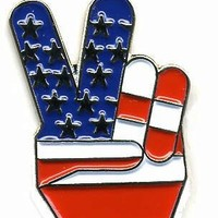 """Deluxe Hat or Lapel Pin 1"""" Finger Peace Sign USA American Flag"""