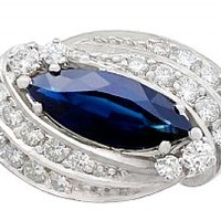 2.62 ct Sapphire and 1.12 ct Diamond, 14 ct White Gold Cocktail Ring - Vintage Circa 1950