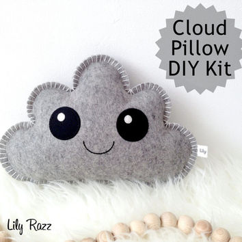 Cloud Pillow DIY KIT, Grey Cloud Pillow, Cloud Sewing Kit