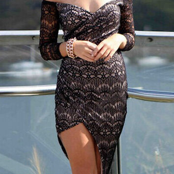Black Bare Shoulder Asymmetrical Lace Dress