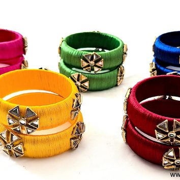 Silk Thread kundan stone work Pair Bangle - Kids