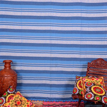 Hand loomed Cotton Throw, Bohemian Tapestries, Upholstery Fabric , Tapestry Fabrics ,  Striped Pattern, Double Bedspread , Cotton Throw