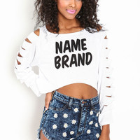 NAME BRAND SLASHED CROP TOP