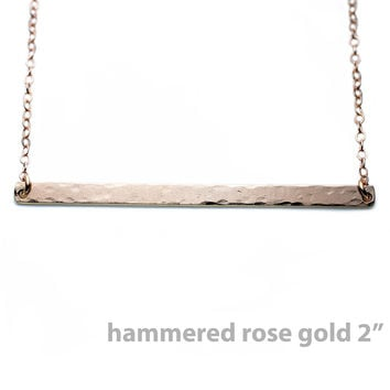Gold Name Plate Necklace Custom Rose Gold Hammered