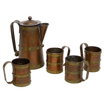 Pre-owned Brass and Copper Pitcher and Mug Set
