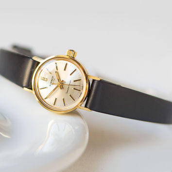 Small women's wristwatch TISSOT Seastar 7, gold plated lady watch water resistant, sporty Swiss women's watch, new premium leather strap