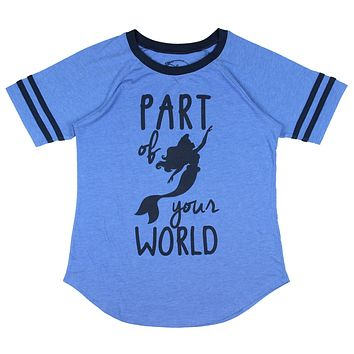 Disney Little Mermaid Part Of Your World Blue Women Juniors T-shirt