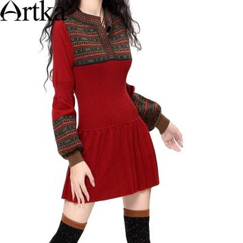 Artka Casual Warm Vintage Style Lantern Sleeve Dress